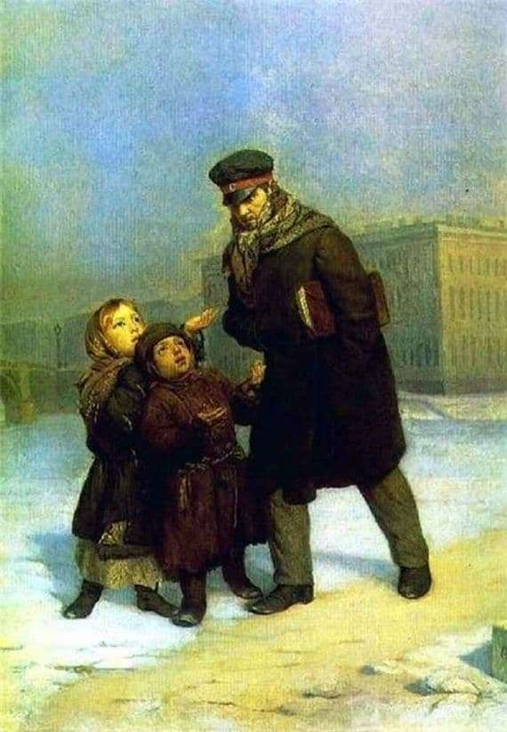 Description of the painting by Firs Zhuravlev Children beggars