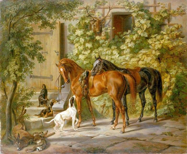 Description of the painting by Adam Albrecht Horses at the Porch