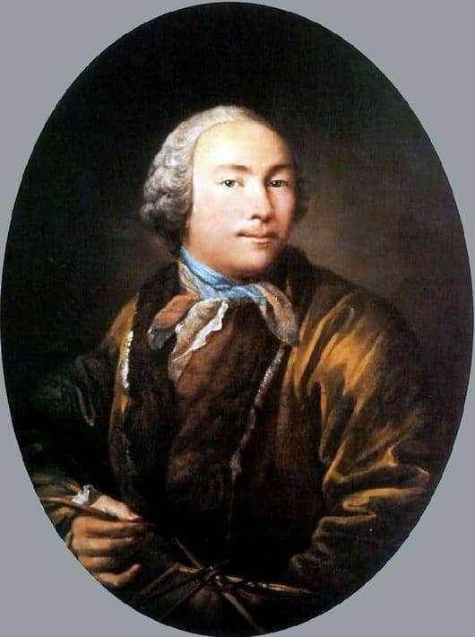 Description of the painting by Ivan Argunov Self portrait