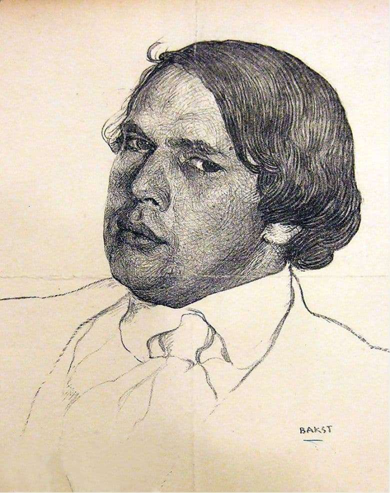 Description of the painting by Leon (Lev) Bakst Portrait of Alexei Tolstoy