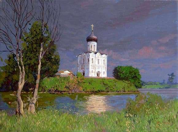 Description of the painting by Sergey Baulin The Church of the Intercession on the Nerl