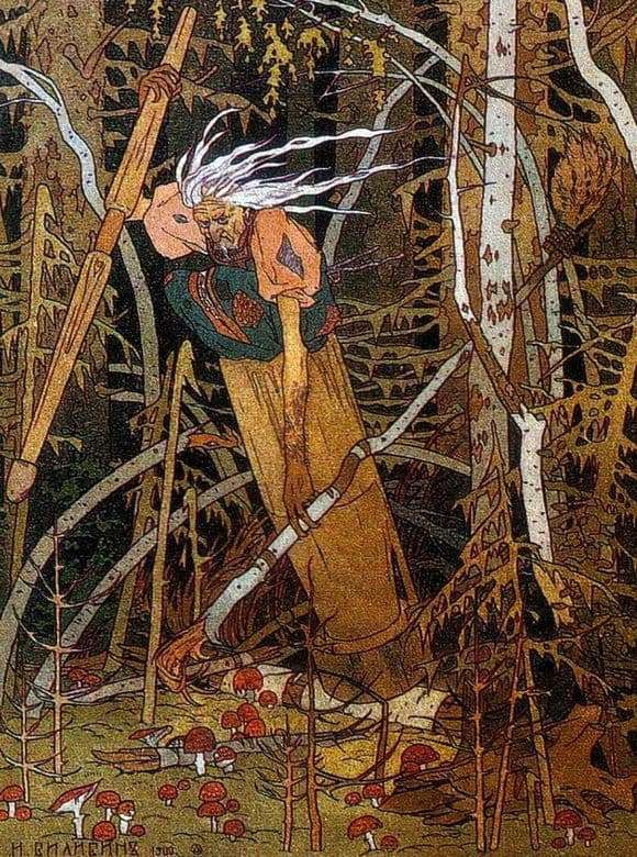 Description of the illustration by Ivan Bilibin Baba Yaga