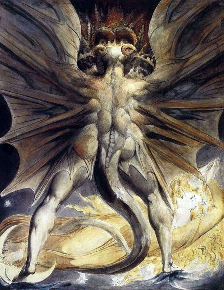 Description of the painting by William Blake The Great Red Dragon