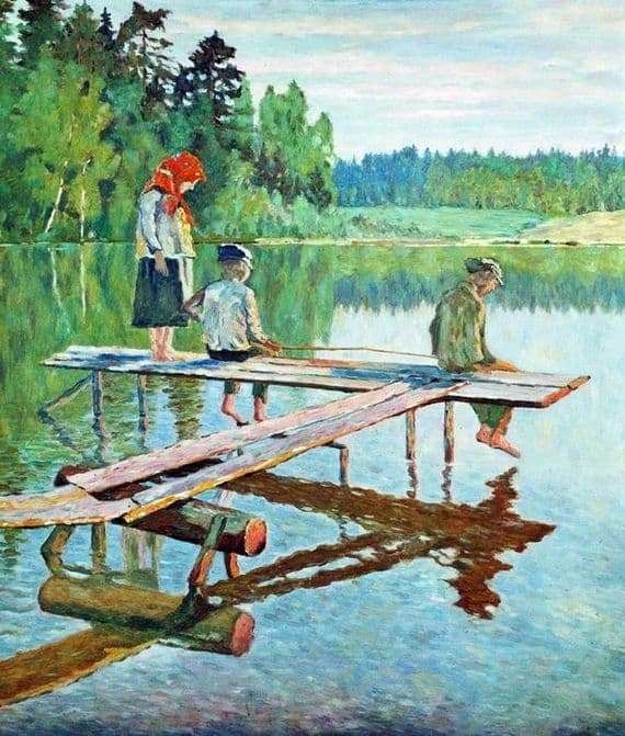 Description of the painting by Nikolai Bogdanov Belsky Evening (Angler)