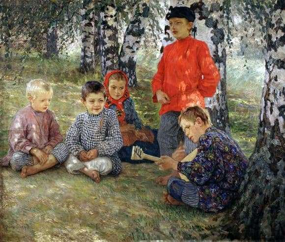 Description of the painting by Nikolai Bogdanov Belsky Virtuoso