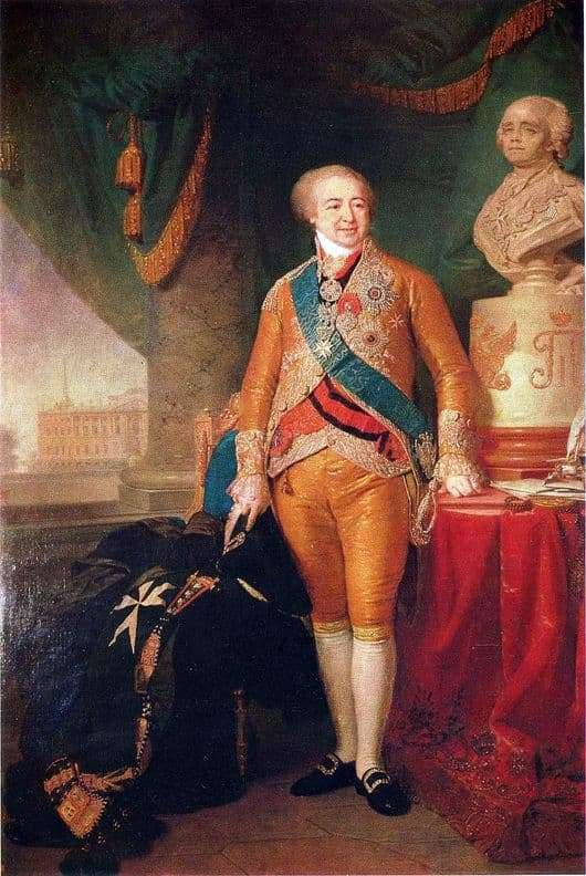 Description of the painting by Vladimir Borovikovsky Portrait of Prince Kurakin
