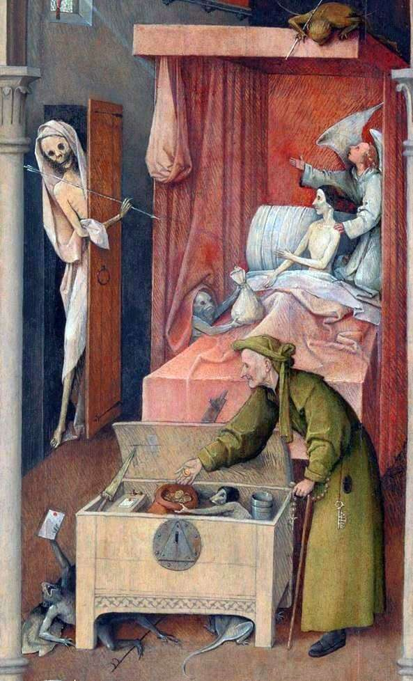 Description of the painting by Hieronymus Bosch Death and the miser