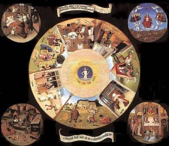 Description of the painting by Hieronymus Bosch Seven deadly sins and the last four things
