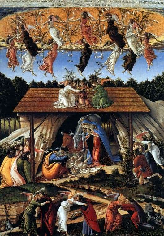 Description of the painting by Sandro Botticelli Mystical Christmas (option 2)