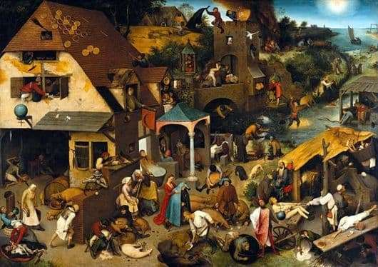 Description of the painting by Peter Bruegel the Elder Dutch proverbs