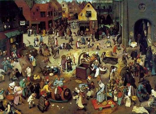 Description of the painting by Peter Bruegel The Battle of Shrovetide and Lent