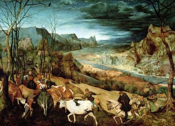 Description of the painting by Peter Bruegel Return of the herd