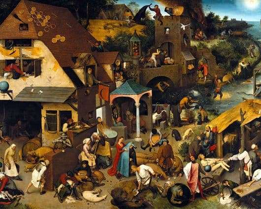 Description of the painting by Peter Bruegel Flemish Proverbs
