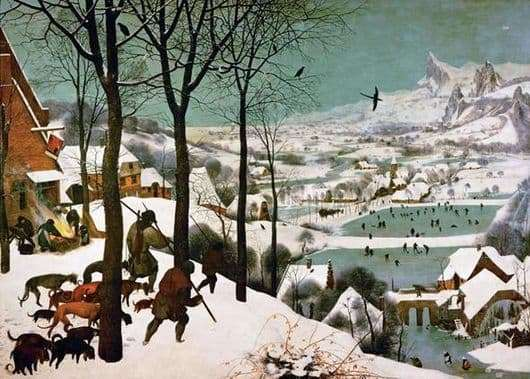 Description of the painting by Peter Bruegel Hunters in the snow