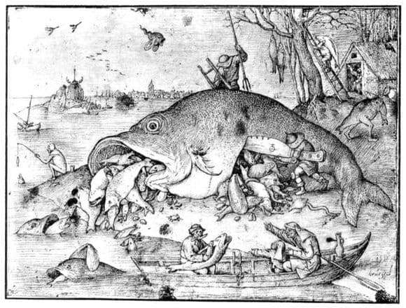 Description of the painting by Peter Bruegel Big fish eat small