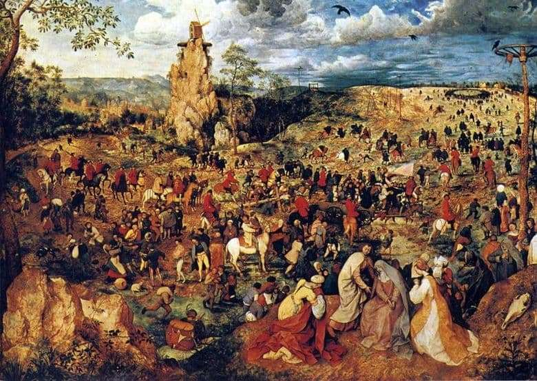 Description of the painting by Peter Bruegel Carrying the Cross (Procession on Calvary)