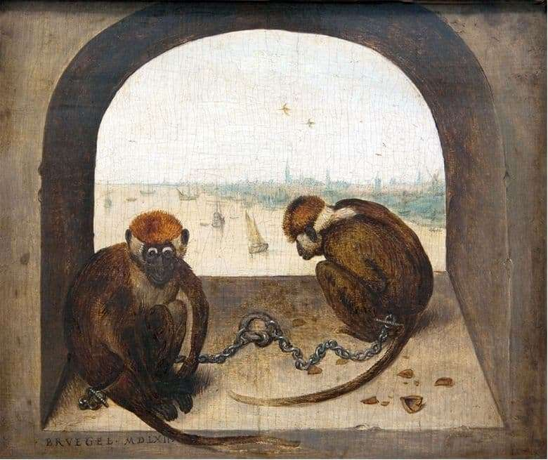 Description of the painting by Peter Bruegel the Elder Two monkeys