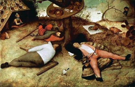 Description of the painting by Peter Bruegel Land of lazy