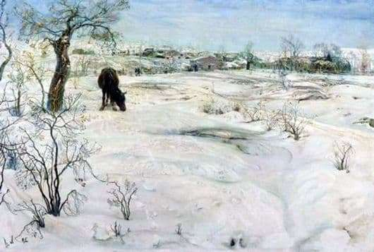 Description of the painting by Isaac Brodsky Winter