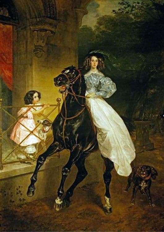 Description of the painting by Karl Bryullov Horsewoman