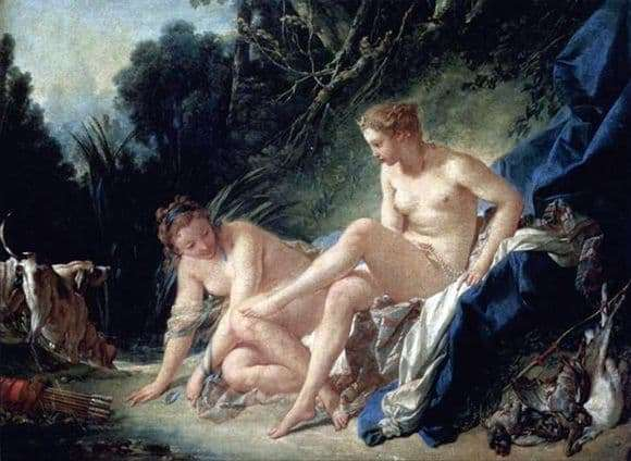 Description of the painting by Francois Boucher Bathing Diana