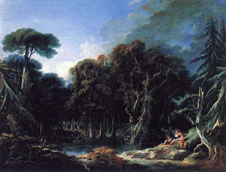 Description of the painting by Francois Boucher Forest landscape with soldiers &; nbsp