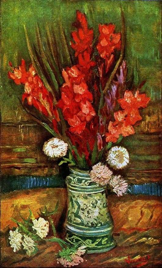 Description of the painting by Vincent van Gogh Still Life with Gladiolus