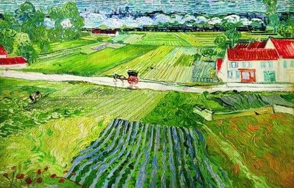 Description of the painting by Vincent Van Gogh Landscape in Auvers after the rain (Landscape with a cart and train)