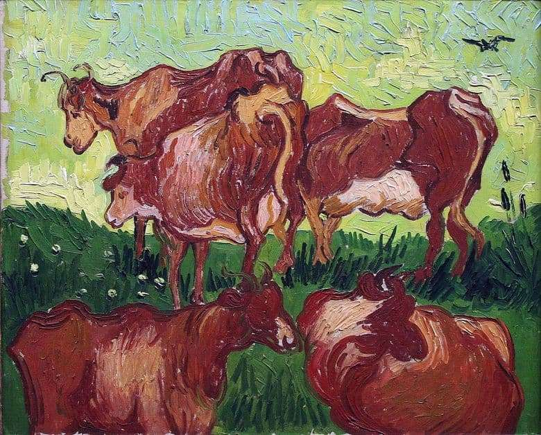 Description of the painting by Vincent Willem van Gogh Cows