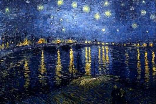 Description of the painting by Van Gogh Starry Night over the Rhone