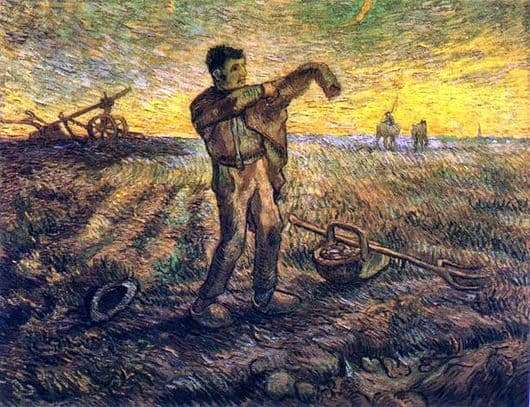 Description of the painting by Vincent Van Gogh In the evening: the end of the day