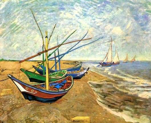Description of the painting by Vincent Van Gogh Boats in Saint Marie