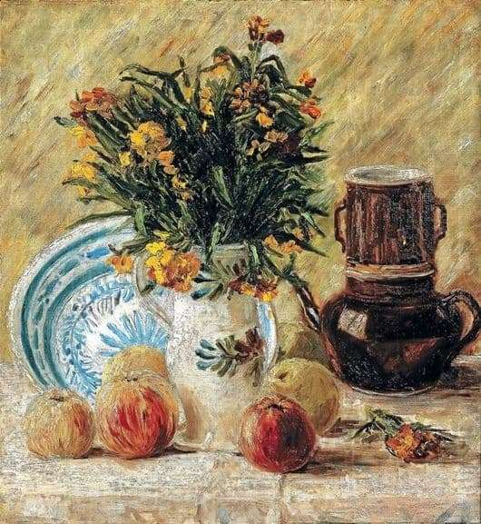 Description of the painting by Vincent Van Gogh Vase with flowers and coffee pot and fruit
