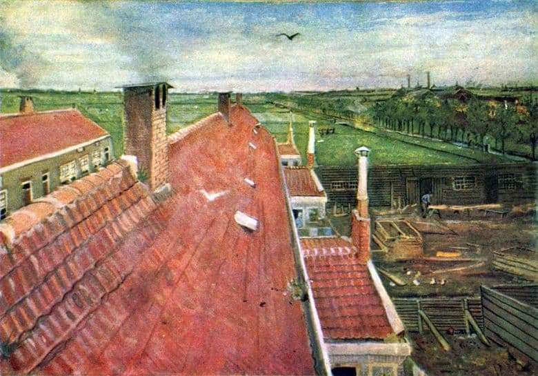 Description of the painting by Vincent Willem van Gogh Roofs. View from the workshop &; nbsp