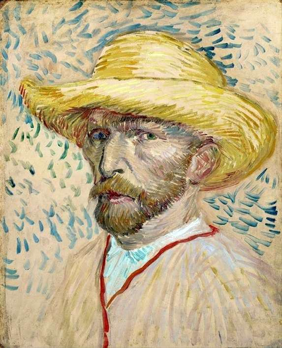 Description of the painting by Vincent Van Gogh Self portrait in a straw hat