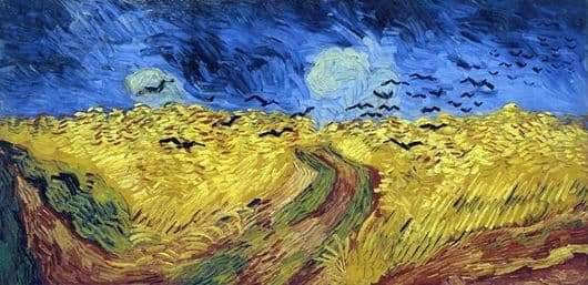 Description of the painting by Vincent Van Gogh Crows in a wheat field