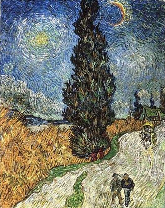 Description of the painting by Vincent Van Gogh The road with cypresses and a star