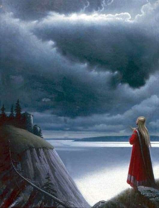 Description of the painting by Konstantin Vasilyev Over the Volga