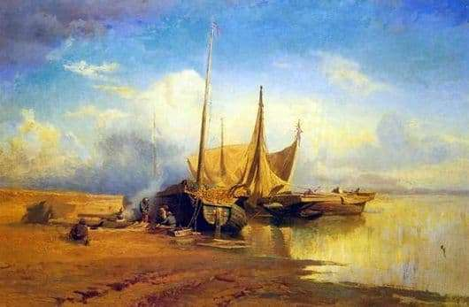 Description of the painting by Fyodor Vasilyev View of the Volga. Barks