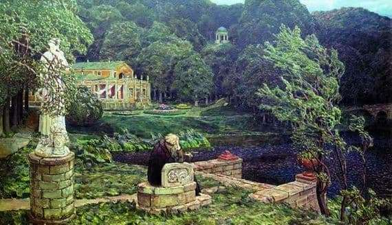 Description of the painting by Apollinaria Vasnetsov The noise of the old park