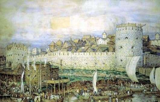 Description of the painting by Apollinarius Vasnetsov Moscow Kremlin with Dmitry Donskoy