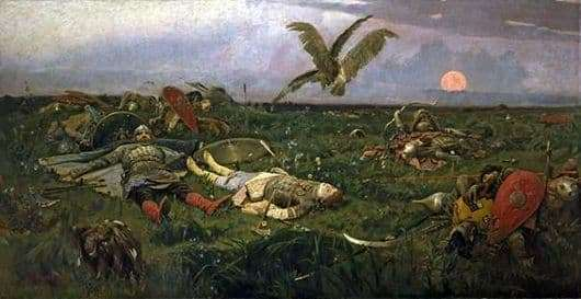 Description of the painting by Viktor Vasnetsov After the slaughter of Igor Svyatoslavich with Polovtsy