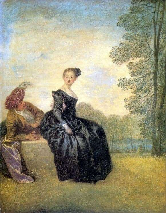 Description of the painting by Antoine Watteau Capricious
