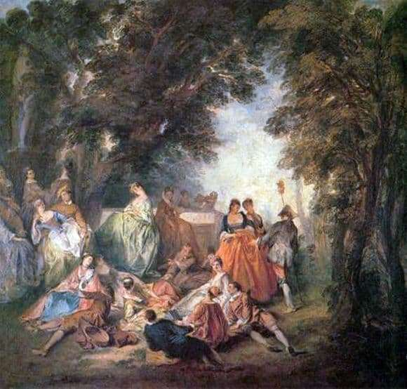 Description of the painting by Antoine Vatto Society in the Park