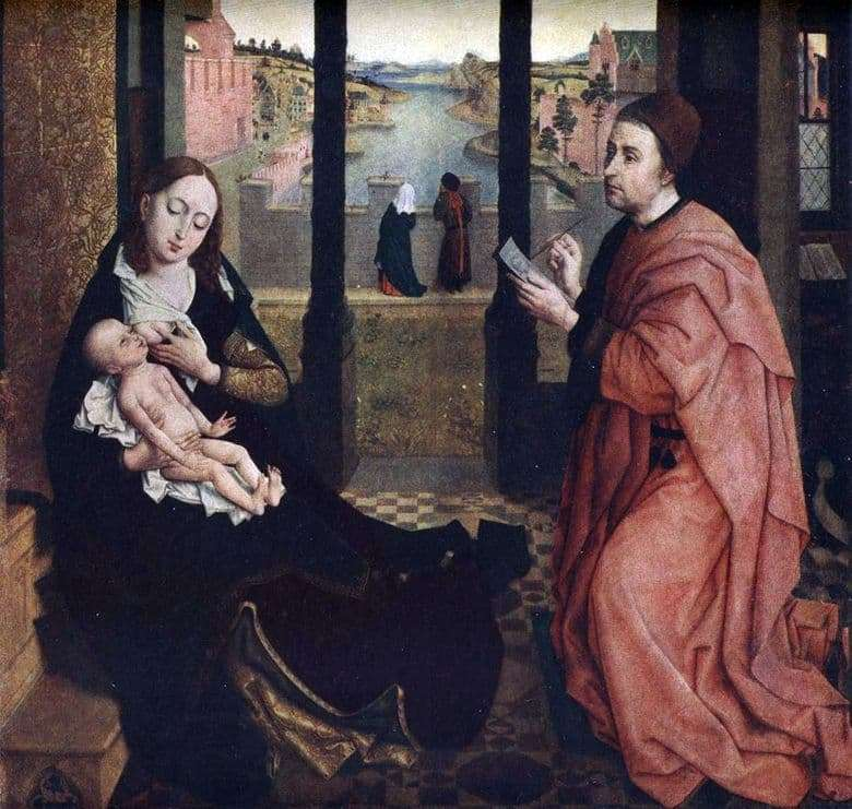 Description of the painting by Rogier van der Weyden St. Luke, painting the Madonna