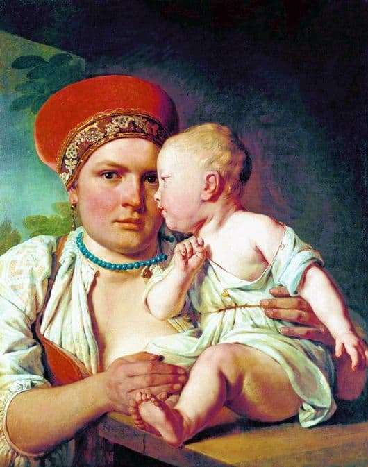 Description of the painting by Alexey Venetsianov Nurse with a child