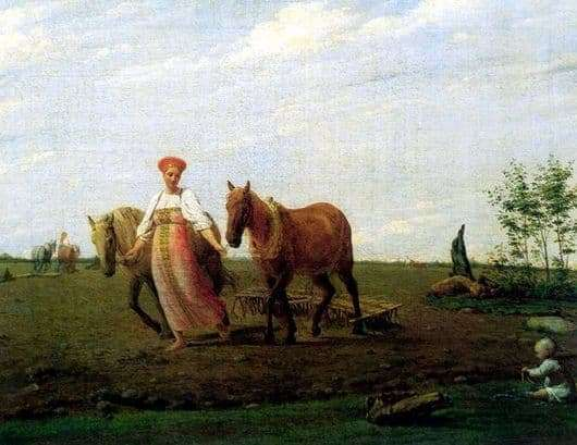 Description of the painting by Alexei Venetsianov On arable land