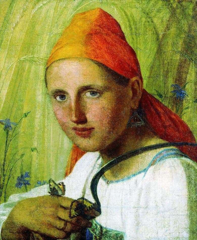 Description of the painting by Alexei Venetsianov Peasant woman with butterflies &; nbsp