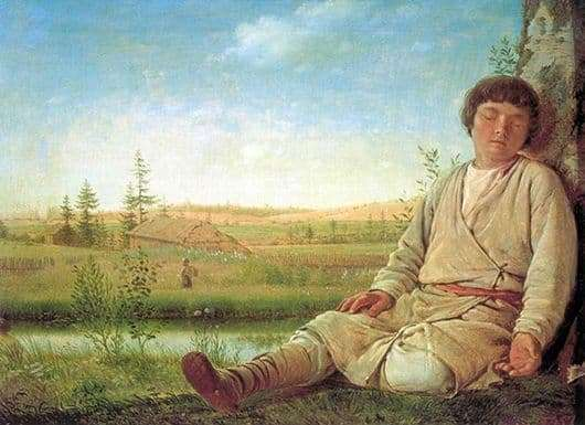 "Description of the painting by Alexei Venetsianov ""Sleeping Shepherd""Description  picture - Venetsianov Alexey"