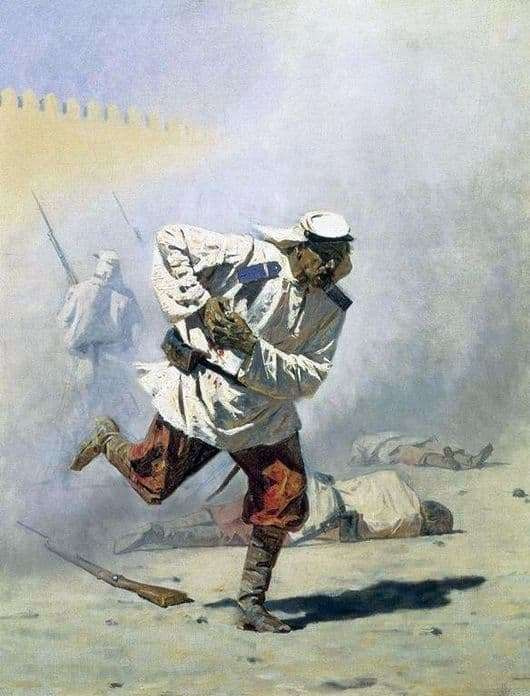 Description of the painting by Vasily Vereshchagin Mortally wounded